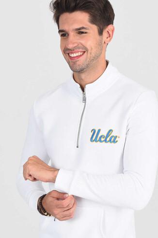 UCLA - POWAY Beyaz Yarım Fermuarlı Nakışlı Erkek Sweatshirt