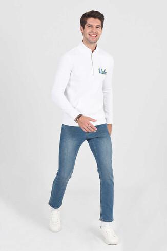 UCLA - POWAY Beyaz Yarım Fermuarlı Nakışlı Erkek Sweatshirt (1)