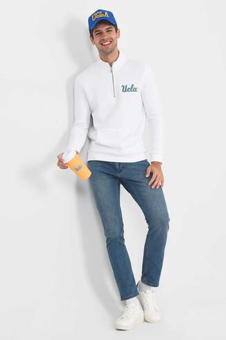 POWAY Beyaz Yarım Fermuarlı Nakışlı Erkek Sweatshirt - Thumbnail (2)