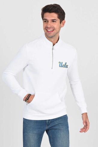POWAY Beyaz Yarım Fermuarlı Nakışlı Erkek Sweatshirt - Thumbnail (3)