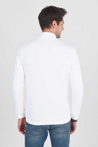 POWAY Beyaz Yarım Fermuarlı Nakışlı Erkek Sweatshirt - Thumbnail (4)