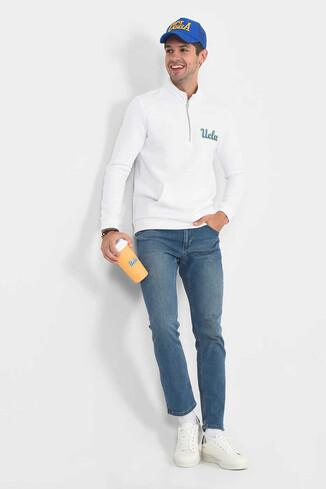 POWAY Beyaz Yarım Fermuarlı Nakışlı Erkek Sweatshirt - Thumbnail (5)