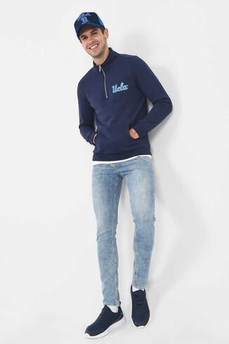 UCLA - POWAY Lacivert Yarım Fermuarlı Nakışlı Erkek Sweatshirt
