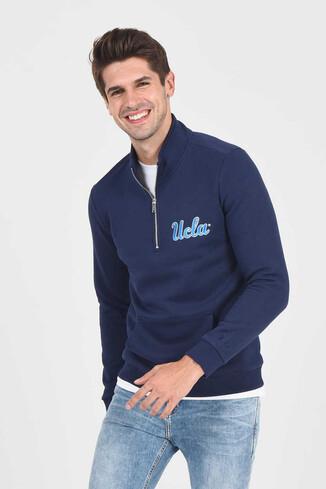 UCLA - POWAY Lacivert Yarım Fermuarlı Nakışlı Erkek Sweatshirt (1)