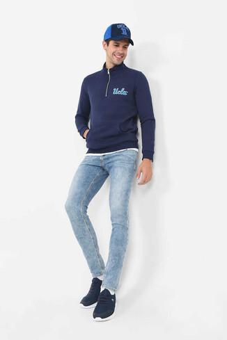 POWAY Lacivert Yarım Fermuarlı Nakışlı Erkek Sweatshirt - Thumbnail (2)
