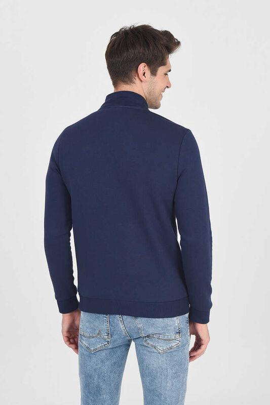 POWAY Lacivert Yarım Fermuarlı Nakışlı Erkek Sweatshirt - Thumbnail