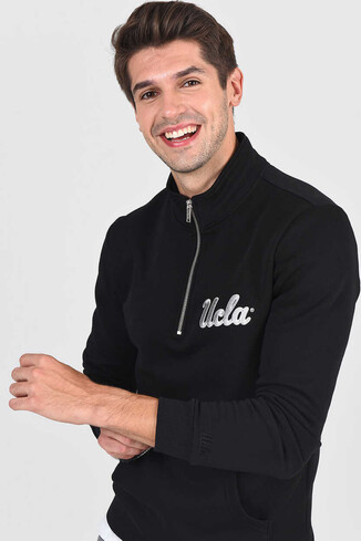 UCLA - POWAY Siyah Yarım Fermuarlı Nakışlı Erkek Sweatshirt