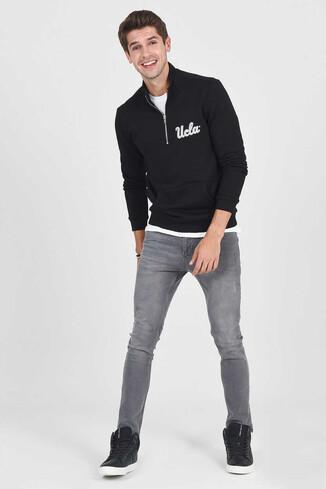 UCLA - POWAY Siyah Yarım Fermuarlı Nakışlı Erkek Sweatshirt (1)