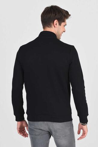 POWAY Siyah Yarım Fermuarlı Nakışlı Erkek Sweatshirt - Thumbnail (4)