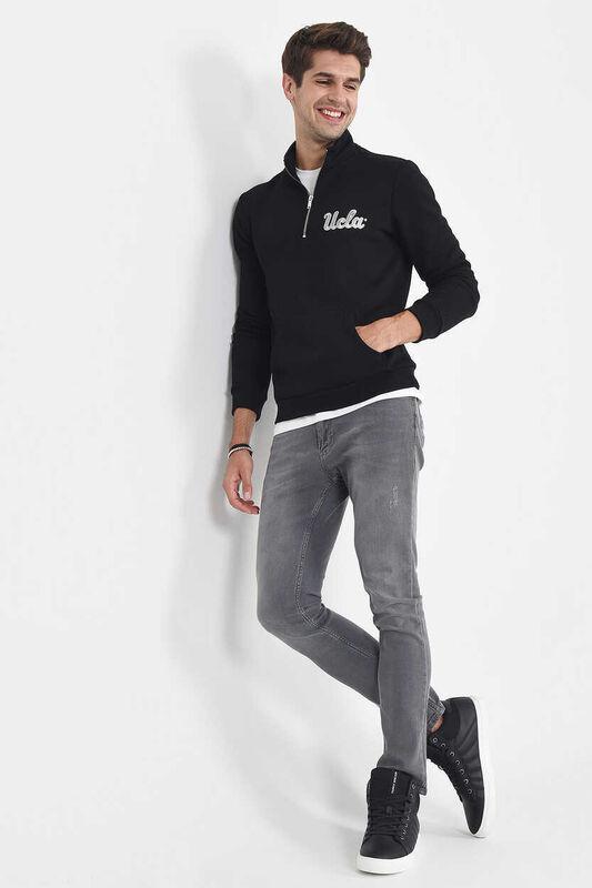 POWAY Siyah Yarım Fermuarlı Nakışlı Erkek Sweatshirt - Thumbnail