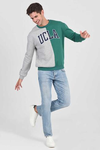 UCLA - REDDLEY Yeşil Oversize Bisiklet Yaka Aplikeli Erkek Sweatshirt