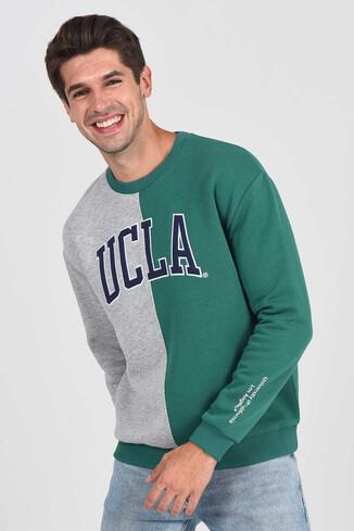 UCLA - REDDLEY Yeşil Oversize Bisiklet Yaka Aplikeli Erkek Sweatshirt (1)