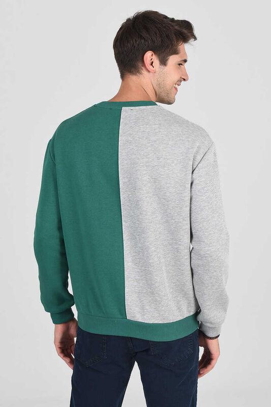 REDDLEY Yeşil Oversize Bisiklet Yaka Aplikeli Erkek Sweatshirt - Thumbnail
