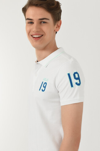 UCLA - REDWAY Beyaz Polo Yaka Erkek T-shirt
