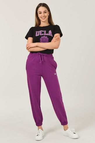 UCLA - RIVER Mor Rahat Kesim Nakışlı Kadın Eşofman Alt (1)