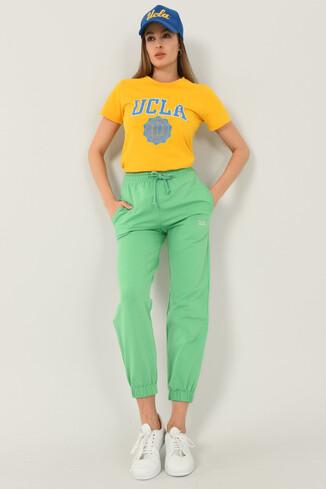 UCLA - RIVER Yeşil Rahat Kesim Nakışlı Kadın Eşofman Alt