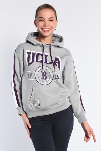 UCLA - ROBLES Gri Kapüşonlu Baskılı Kadın Sweatshirt
