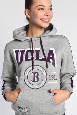 UCLA - ROBLES Gri Kapüşonlu Baskılı Kadın Sweatshirt (1)