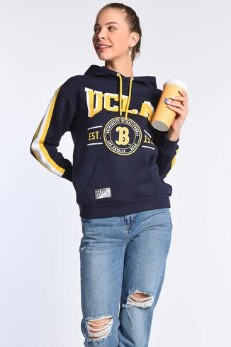UCLA - ROBLES Lacivert Kapüşonlu Baskılı Kadın Sweatshirt