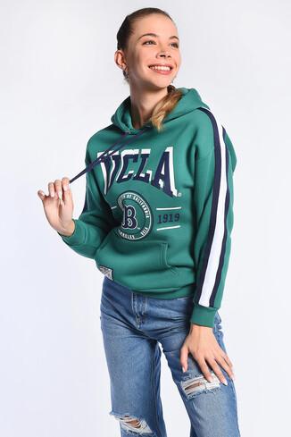 UCLA - ROBLES Yeşil Kapüşonlu Baskılı Kadın Sweatshirt