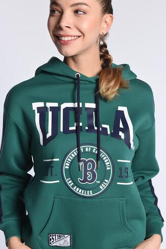 UCLA - ROBLES Yeşil Kapüşonlu Baskılı Kadın Sweatshirt (1)