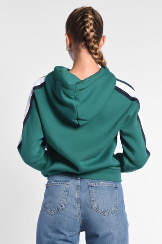 ROBLES Yeşil Kapüşonlu Baskılı Kadın Sweatshirt - Thumbnail (4)
