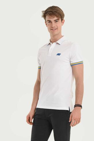 UCLA - SANTEE Beyaz Polo Yaka Erkek T-shirt (1)