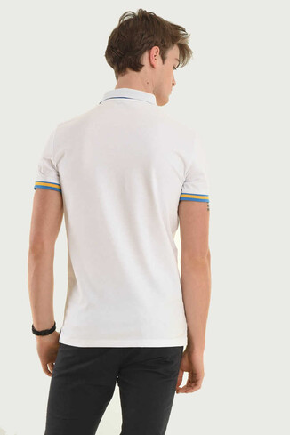 SANTEE Beyaz Polo Yaka Erkek T-shirt - Thumbnail (3)
