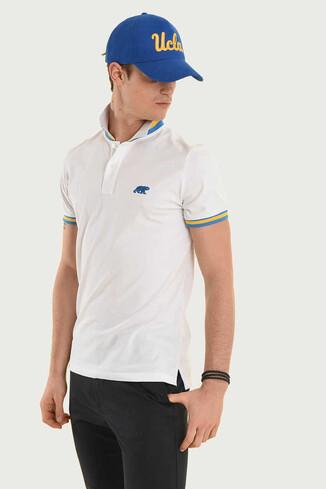 SANTEE Beyaz Polo Yaka Erkek T-shirt - Thumbnail (2)