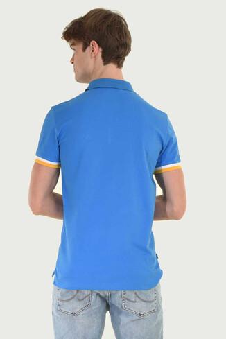 SANTEE Mavi Polo Yaka Erkek T-shirt - Thumbnail (2)