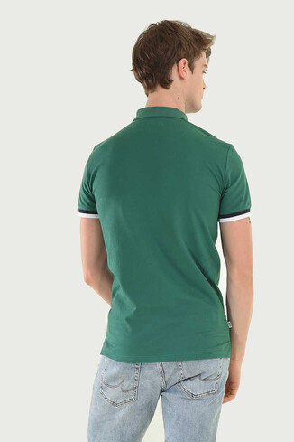 SANTEE Yeşil Polo Yaka Erkek T-shirt - Thumbnail (2)