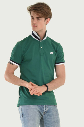 SANTEE Yeşil Polo Yaka Erkek T-shirt - Thumbnail (3)