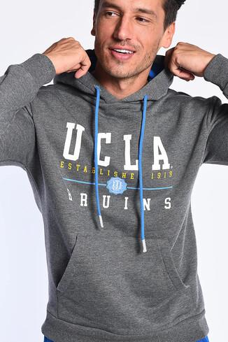 UCLA - SCOTT Koyu Gri Kapüşonlu Baskılı Erkek Sweatshirt (1)
