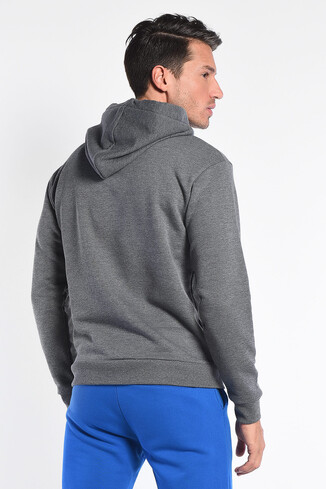 SCOTT Koyu Gri Kapüşonlu Baskılı Erkek Sweatshirt - Thumbnail (4)