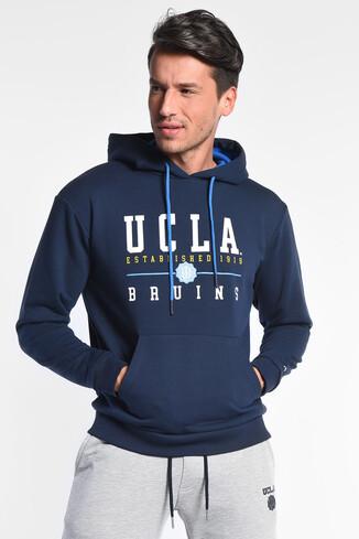 UCLA - SCOTT Koyu Lacivert Kapüşonlu Baskılı Erkek Sweatshirt