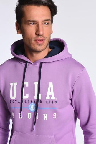 UCLA - SCOTT Mor Kapüşonlu Baskılı Erkek Sweatshirt (1)