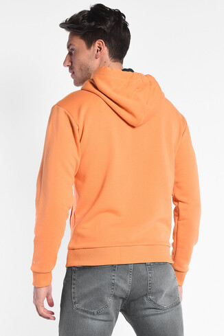 SCOTT Turuncu Kapüşonlu Baskılı Erkek Sweatshirt - Thumbnail (4)
