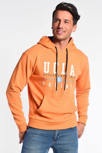 UCLA - SCOTT Turuncu Kapüşonlu Baskılı Erkek Sweatshirt
