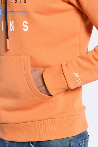 SCOTT Turuncu Kapüşonlu Baskılı Erkek Sweatshirt - Thumbnail (2)
