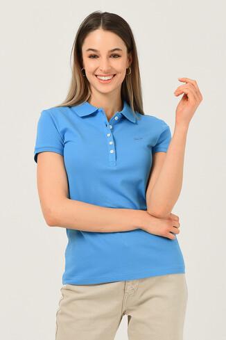 UCLA - SHAVER Mavi Polo Yaka Nakışlı Kadın Tshirt