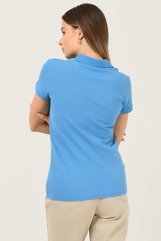 SHAVER Mavi Polo Yaka Nakışlı Kadın Tshirt - Thumbnail (3)