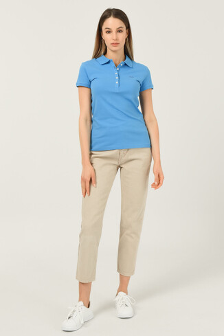 SHAVER Mavi Polo Yaka Nakışlı Kadın Tshirt - Thumbnail (2)