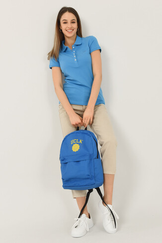 SHAVER Mavi Polo Yaka Nakışlı Kadın Tshirt - Thumbnail (4)