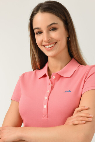 UCLA - SHAVER Pembe Polo Yaka Nakışlı Kadın Tshirt (1)