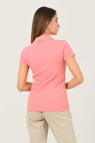 SHAVER Pembe Polo Yaka Nakışlı Kadın Tshirt - Thumbnail (3)