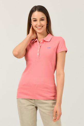 UCLA - SHAVER Pembe Polo Yaka Nakışlı Kadın Tshirt