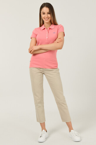 SHAVER Pembe Polo Yaka Nakışlı Kadın Tshirt - Thumbnail (2)
