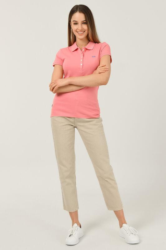 SHAVER Pembe Polo Yaka Nakışlı Kadın Tshirt - Thumbnail
