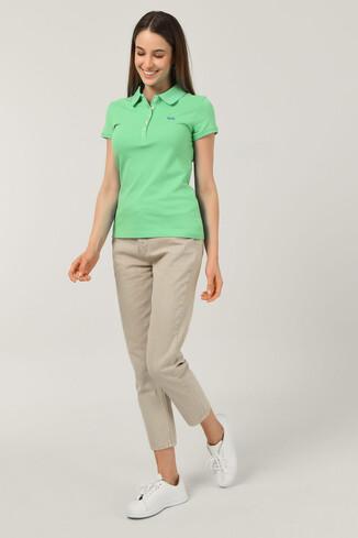 SHAVER Yeşil Polo Yaka Nakışlı Kadın Tshirt - Thumbnail (2)