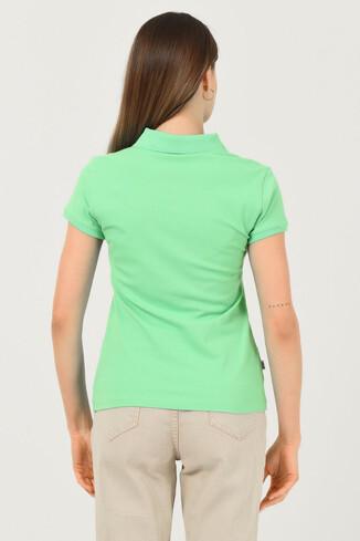 SHAVER Yeşil Polo Yaka Nakışlı Kadın Tshirt - Thumbnail (3)